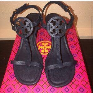 Navy Blue Tory Burch Wedge Sandals